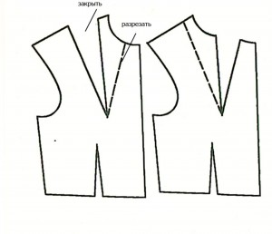 моделирование нагрудной вытачки платья