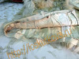 обработка низа меховой жилетки обтачками